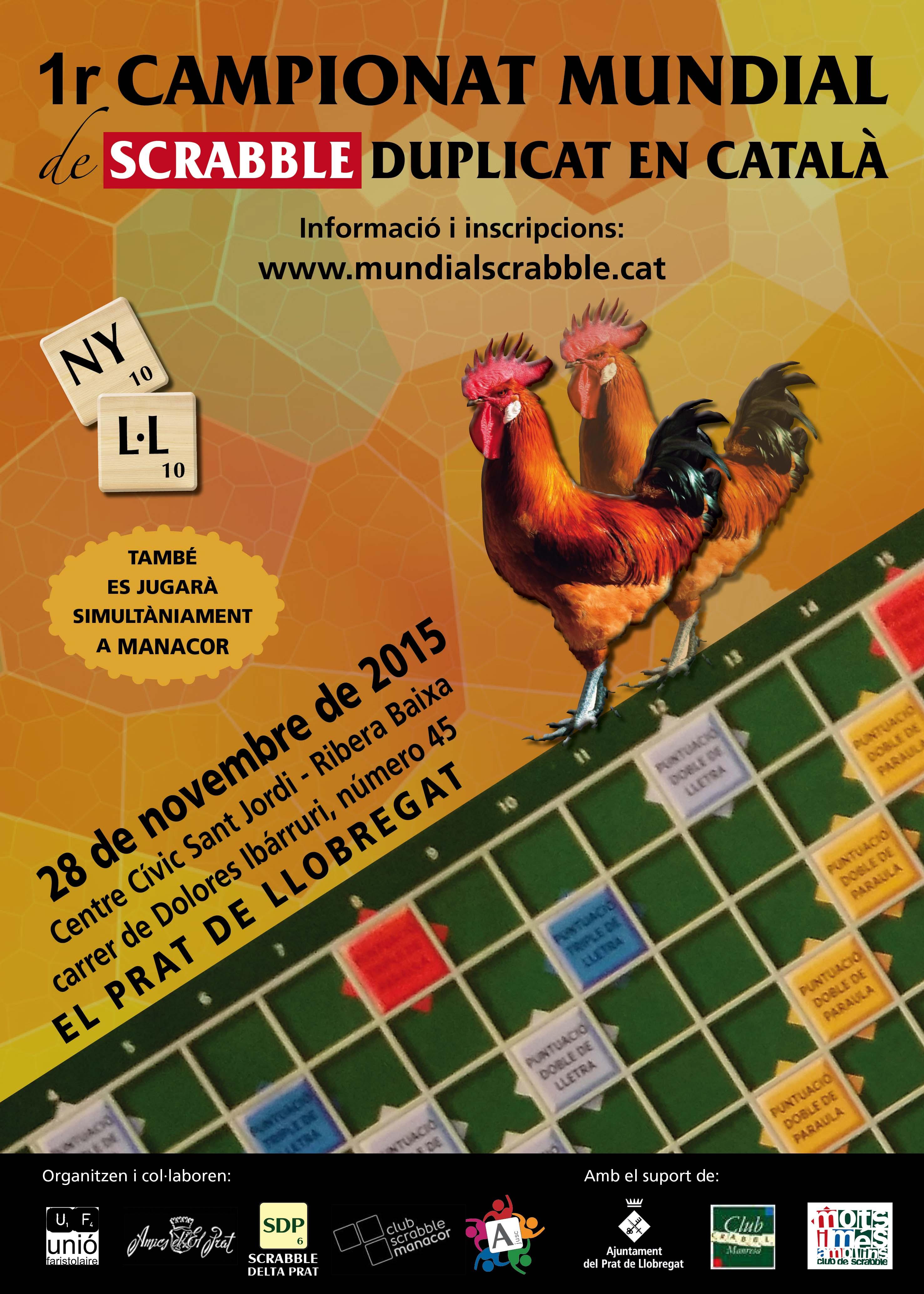 Cartell del 1r Campionat Mundial de Scrabble Duplicat en Català